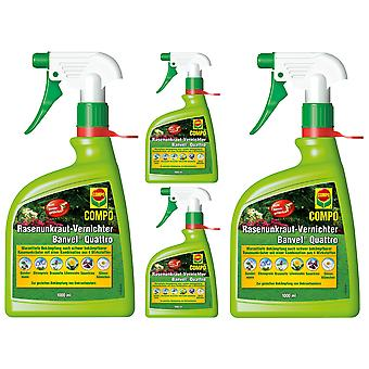 Sparsomme: 4 x COMPO Lawn Weed Killer Banvel® Quattro AF, 1000 ml