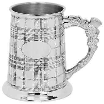 Scottish Tartan Design Thistle Handle Pewter Tankard - 1 Pint