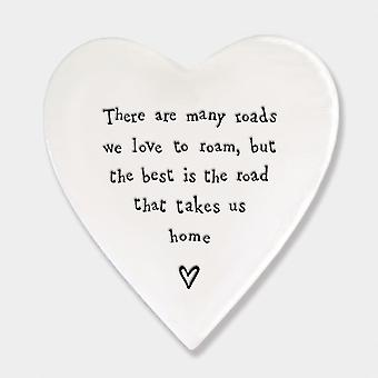 East of India Porcelain Heart Coaster' There are many roads…' Keepsake Gift Wedding