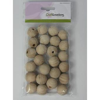 CraftEmotions Trækugle med hul, naturlig 2,5 cm