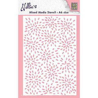 Nellie's Scelta A6 Stencil multimediali misti - Burst Of Drops