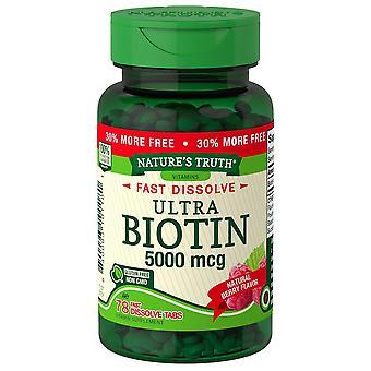 Nature's waarheidsbiotine, 5000 mcg, snel oplossen tabbladen, natuurlijke bes, 78 ea
