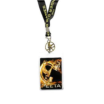 Hunger Games Girl On Fire Peeta Design Lanyard With Pin Badge