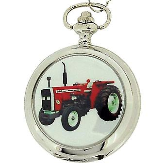 Boxx Gents White Dial Tractor Pocket Watch on 12 Inch Chain Boxx88