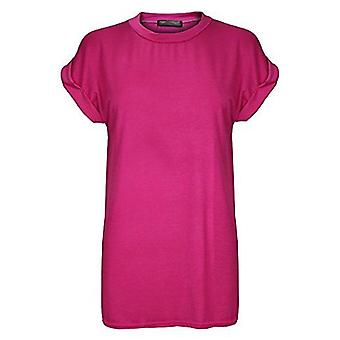 Dames Oversized Turn Up Sleeve T-shirt