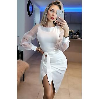 Grace Organza Mesh Sleeves Wrap Dress - Ladies - White