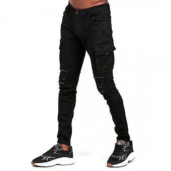 Glorious Gangsta Nero Super Slim Stretch Denim Black Combat Jeans