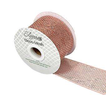 Metallic Rose Gold 6cm x 10m Deco Mesh Roll for Wreath Making, Floristry & Crafts