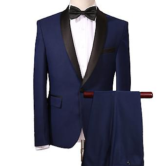 Allthemen Men's Navy Shawl Collar Business Slim Fit 3-Piece Suit