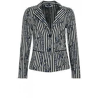 Lauren Vidal Striped Floral Jacket