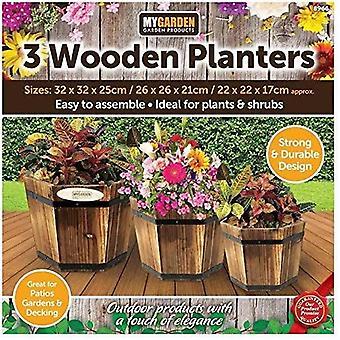 My Garden Set of 3 Decorative Garden Planters - Solid Natural Wooden Planters