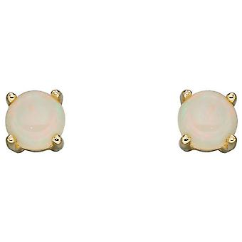 Elements Gold October Birthstone Stud Earrings - White/Gold