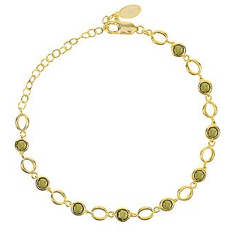 Link Gemstone Bracelet Gold Peridot Light Green Wedding Gift Bridesmaid 925 Chain
