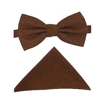Mens & Boys Cinnamon Brown Tweed Dickie Bow Tie and Pocket Square