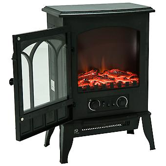 HOMCOM Freestanding Electric Fireplace Heater Stove with LED Flame Effect 1000W/2000W Black (Type B)