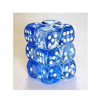 Chessex 16mm D6 Block of 12 - Nebula Dark Blue/white