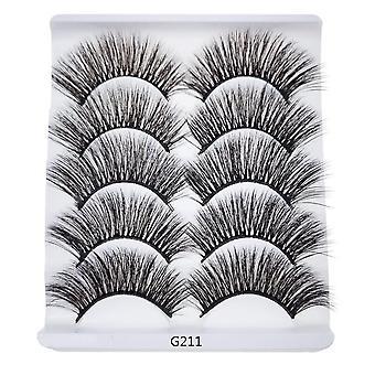 5-pair false eyelashes-6D faux mink-G211