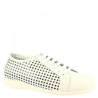 Leonardo Shoes Women's handmade lace-ups baskets chaussures en cuir de veau blanc openwork