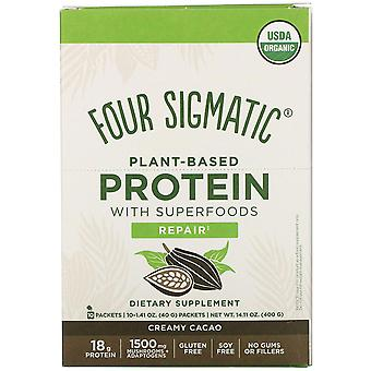 Four Sigmatic, Plant-Based Protein with Superfoods, Creamy Cacao, 10 Packets, 1.