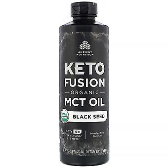 Dr. Axe / Ancient Nutrition, Keto Fusion Organic MCT Oil, Black Seed, 16 fl oz (