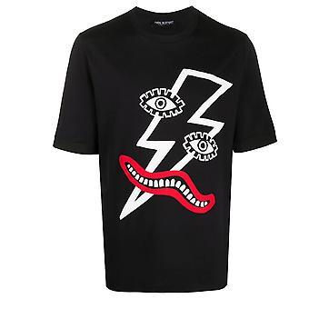 Neil Barrett Lightning Bolt Gesicht Druck schwarz Oversize T-Shirt