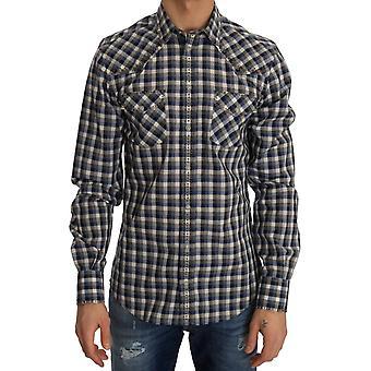 Dolce & Gabbana Blue Gray Check Cotton Slim Fit Shirt TSH1985-1