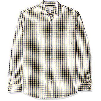 أساسيات الرجال & apos;ق العادية تناسب طويلة الأكمام عارضة قميص بوبلين, الذهب / ناف ...