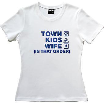 Stadt Kinder Frau (In dieser Reihenfolge) weiße Frauen's T-Shirt