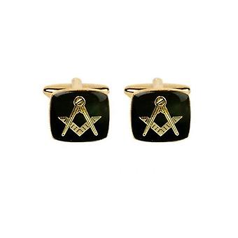 Black & Gold Masonic Cushion Cufflinks