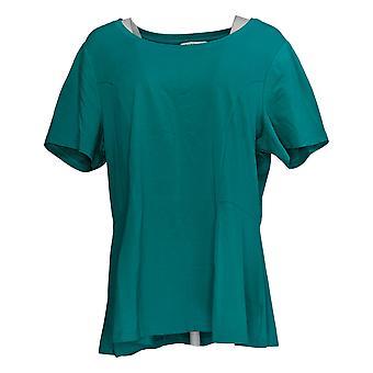 إسحاق مزراحي لايف! Women's Top Seamed Peplum Knit Top Green A354253