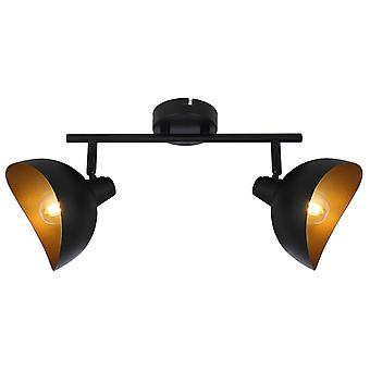 Lampada BRILLIANT Layton tubo spot 2flg nero opaco / oro 2x D45, E14, 25W, adatto per lampade a goccia (non incluso)