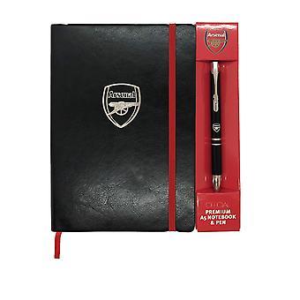 Arsenal FC Virallinen Jalkapallo Lahja Executive Premium A5 Muistikirja & Kynä
