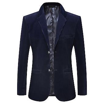YANGFAN Men's Two Buckle Casual Solid Color Suit Jacket