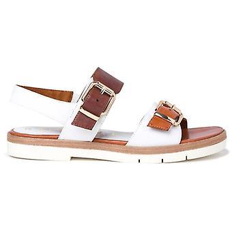 Tamaris Damen Sandale aus weißem Leder und Leder