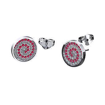 Pair of press fit cubic zirconia swirl stud earrings 20ga 316l stainless steel