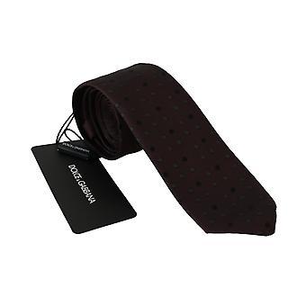 Dolce & Gabbana Maroon Katkoviiva Klassinen Slim 100% Silkki necktie
