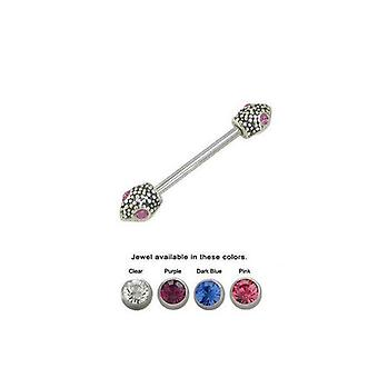 Lizard barbell nipple ring surgical steel with jewels