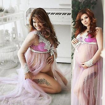 Goocheer Lace V-hals Hollow Out Moederschap jurken voor fotoshoot zwanger