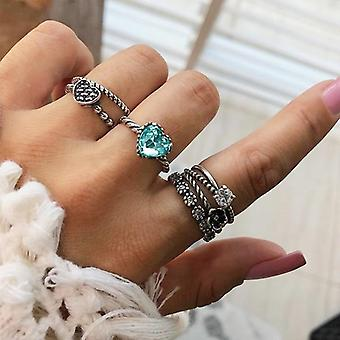 Women Fashion Virgin Mary Geometric Flowers Leaf Gold Finger Rings For Mother's