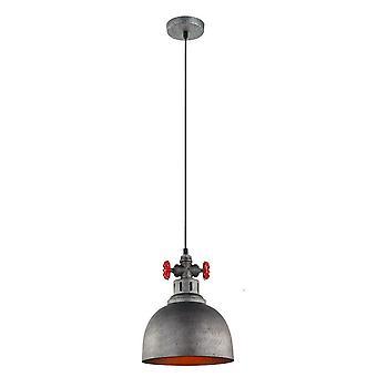 Pendentif suspendu industriel et rétro gris 1 lumière avec l'ombre grise brossée, E27