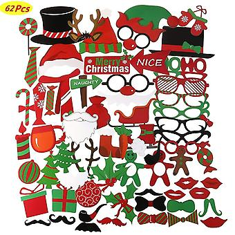 62Pcs christmas photo booth props kit for party supplies and christmas decorations,santa hat party m