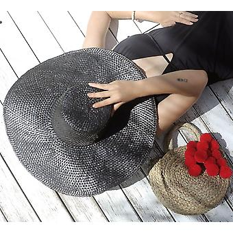 Swasti Wide Round Palm Straw Hat, In Black (pré-commande)