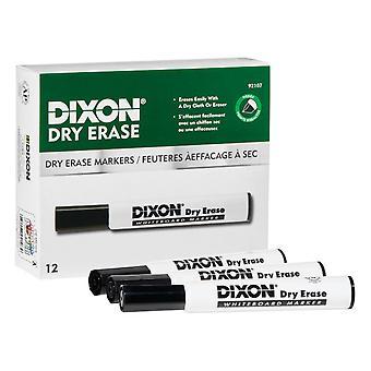 Dry Erase Markers Wedge Tip, Black, Pack Of 12