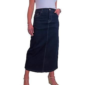 Kvinner's Veldig Elastisk Denim Maxi Skjørt Damer Casual Straight Lange Jeans Skjørt