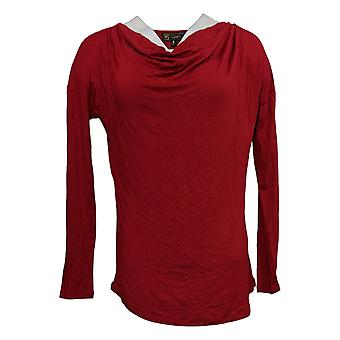 DG2 by Diane Gilman Women's Top Cowl-Neck Long-Sleeve Red 716-481
