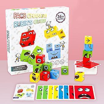 モンテスリ表現パズル顔キューブの建物のブロックキューブブロックおもちゃ幼児のための教育マッチおもちゃ子供のための教育マッチおもちゃ