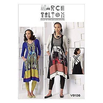 Vogue coser patrón 9108 misses señoras túnica vestido leggings tamaño XS-MD Uncut