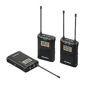 CoMica CVM-WM100 PLUS UHF 48-Channel Wireless Dual Lavalier Microphone