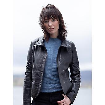 Karen casual skinn jacka i svart
