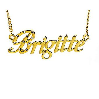 """L Brigitte - 18-carat Gold Plated Necklace, with Customizable Name, Adjustable Chain of 16""""- 19"""", in Regal Packaging"""